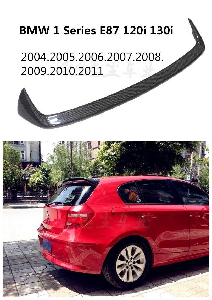 Hlongqt carbon fiber spoiler for bmw 1 series e87 120i 130i 2004 2011 high quality car rear wing spoilers auto accessories