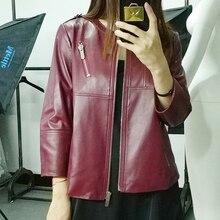Ptslan 2017 Fashion New Women s Jacket European Fashion Real Leather Jacket Genuine Leather Motorcycle Women