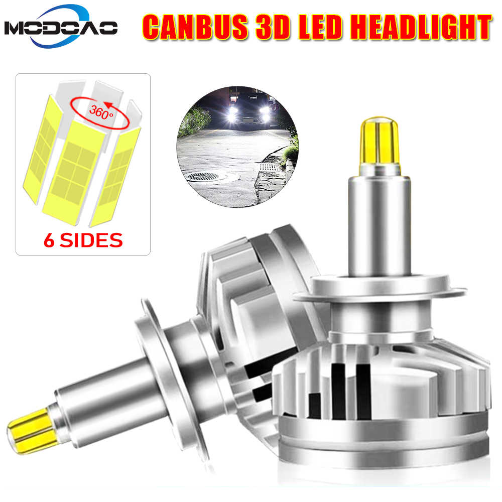 12000LM H1 H7 LED Canbus H11 9005 HB3 9006 HB4 6-sides 3D Led Headlights Auto Lamp 360 degree 6000K Car Light Lamp Bulbs