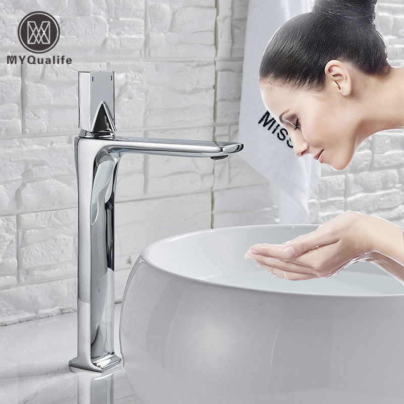 Black Hot Cold Basin Faucet Deck Mounted Square Brass Bathroom Mixers Single Handle White Vanity Sink Mixer Faucet Basin Tap