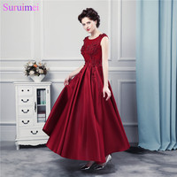 Burgundy Prom Dresses Long Satin Floor Length Lace Applique Corset Prom Gown Formal Women Dress Free Shipping