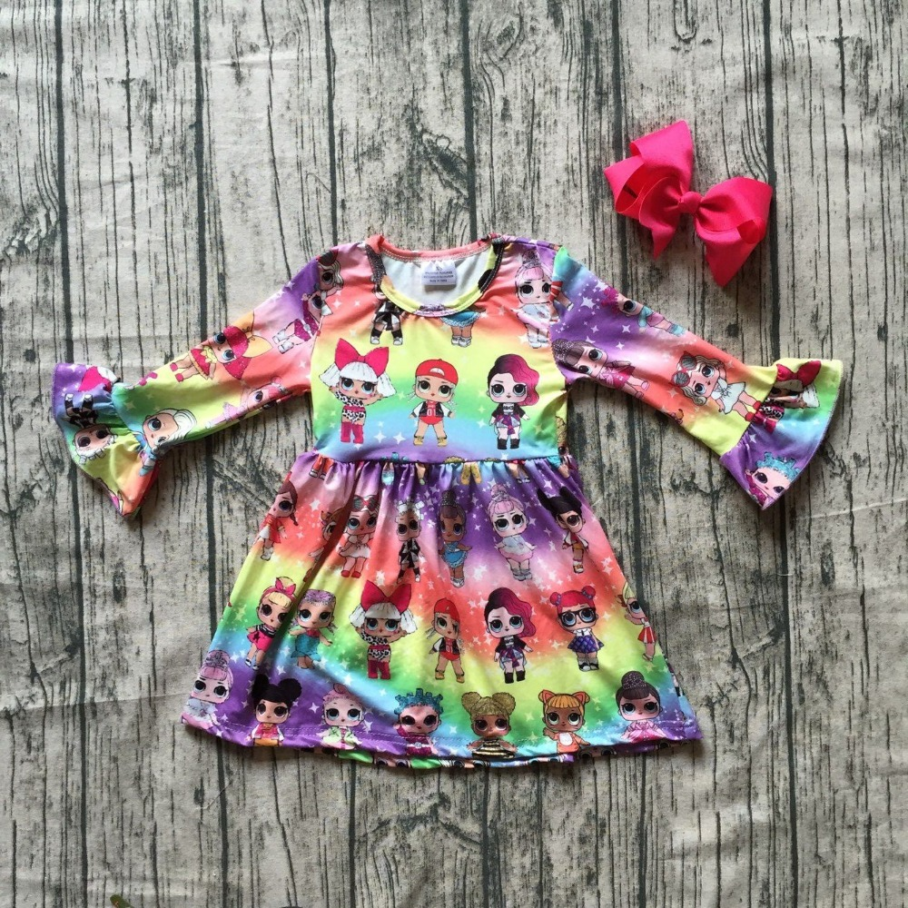 new milk silk Carton girls children clothes baby cotton Fall/Winter long sleeve ruffle dress boutique kids wear match clip bow girls beauty glamorous bow sequin embroidery bubble long sleeve full clip dress