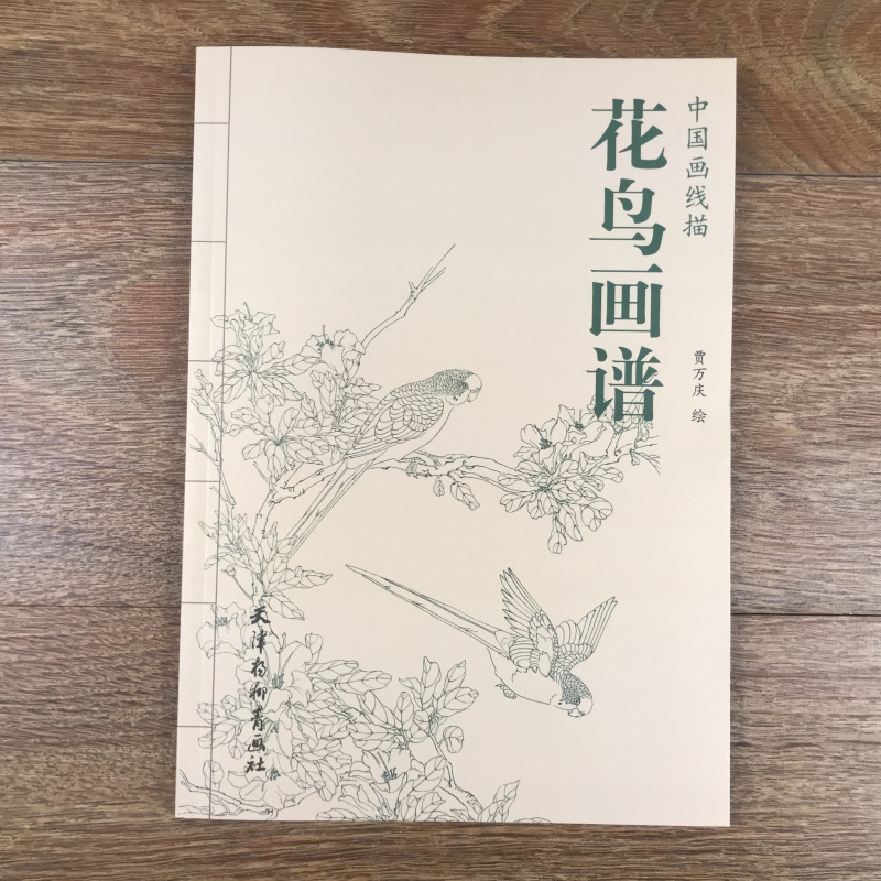 Chinese Line Drawing Flower And Bird Painting Spectrum Book / Traditional Chinese Gong Bi Bai Miao Painting Art Textbook