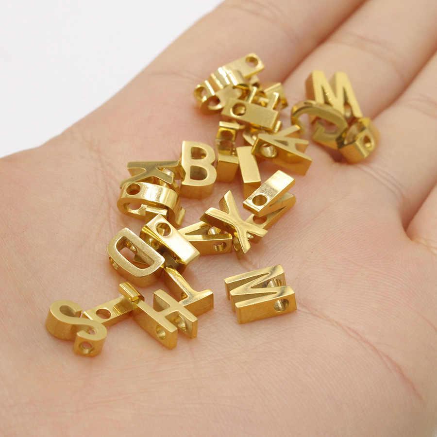 5 יח'\חבילה קטן 3D 26 מכתב שרשרת תליון קסם נירוסטה עלה/זהב/כסף/אנגלית מכתב קסמי עבור תכשיטי ביצוע