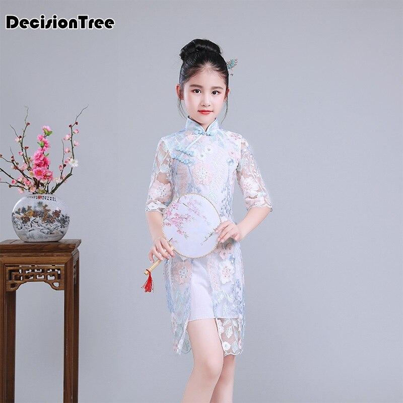 2019 nouveaux enfants satin robe fleur gril cheongsam chine guzheng national robe enfants enfant filles grue qipao épissure robe