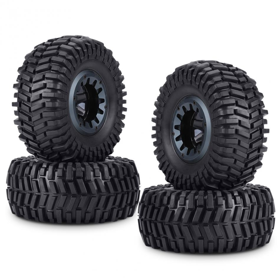 4pcs/set Rubber Tyre Tires & Hubs Wheel Rims Accessories for 1/10 RC Crawler Truck Car wholesale 2pcs lot for robot 1 10 rc car rc rubber tires tyre