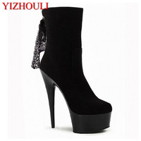 15cm high heels, suede lace-up boots with lace and low boots, high heels, spring style   Dance     Shoes