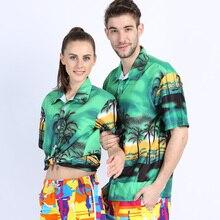 Mens Hawaiian Shirt Short Sleeve Tropical Print Beachwear Casual Shirt Slim Fit Floral Blouse Social Women