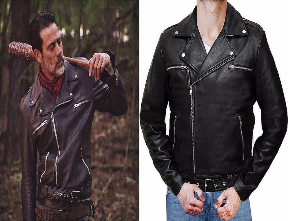 2016 The Walking Dead 7 Negan Svart Läder Jackor Cosplay Man Nedfällbar Kollär Leather Coat Halloween Julklapp
