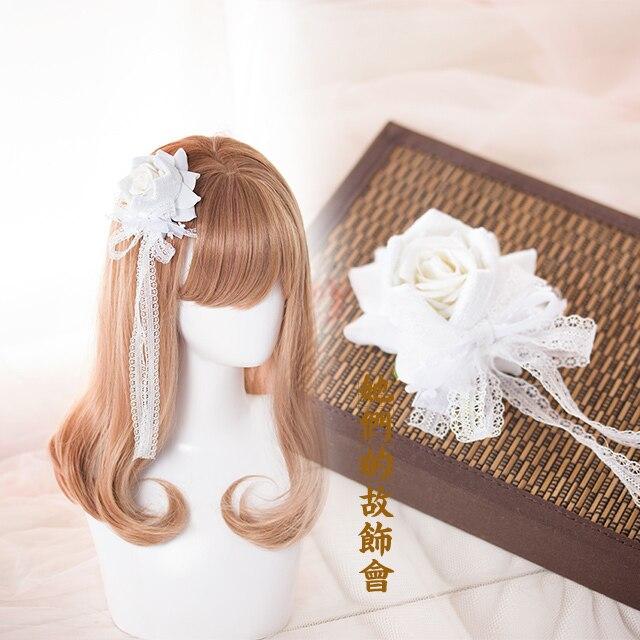 Princess Gothic lolita hairpin  Handmade lace ribbon bowknot hairpin crown Rose Hair simulation   GSH018