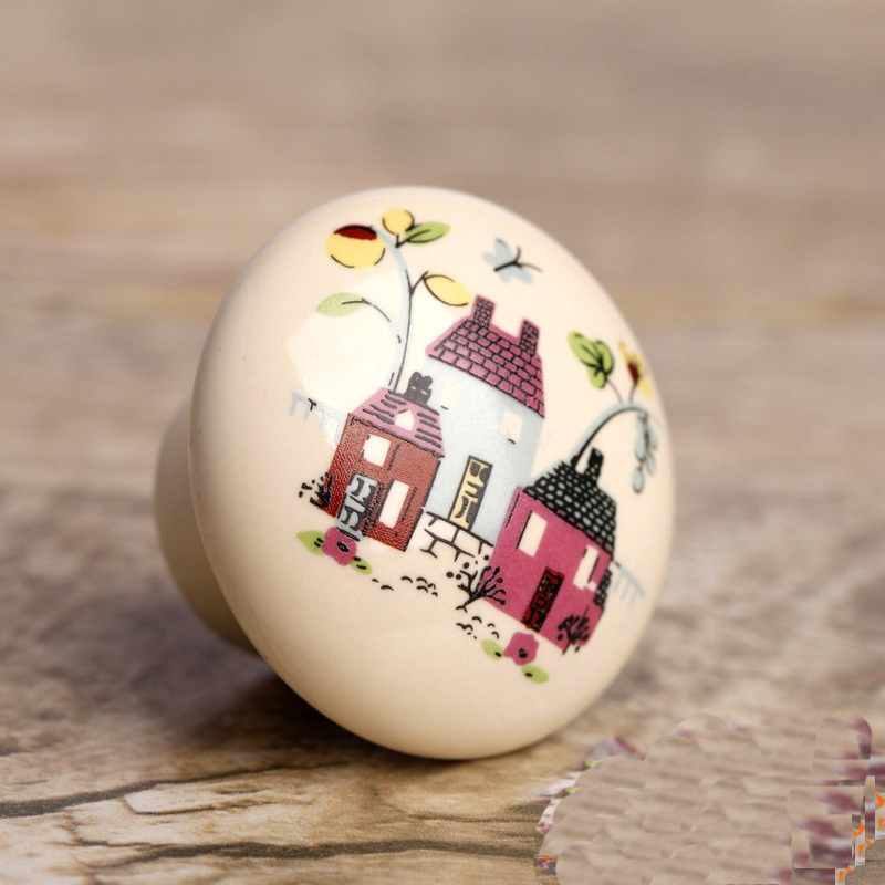 10pcs cartoon ceramic knob kids children bedroom furniture drawer pull handle fairy tale cupboard door bedroom furniture drawer handles