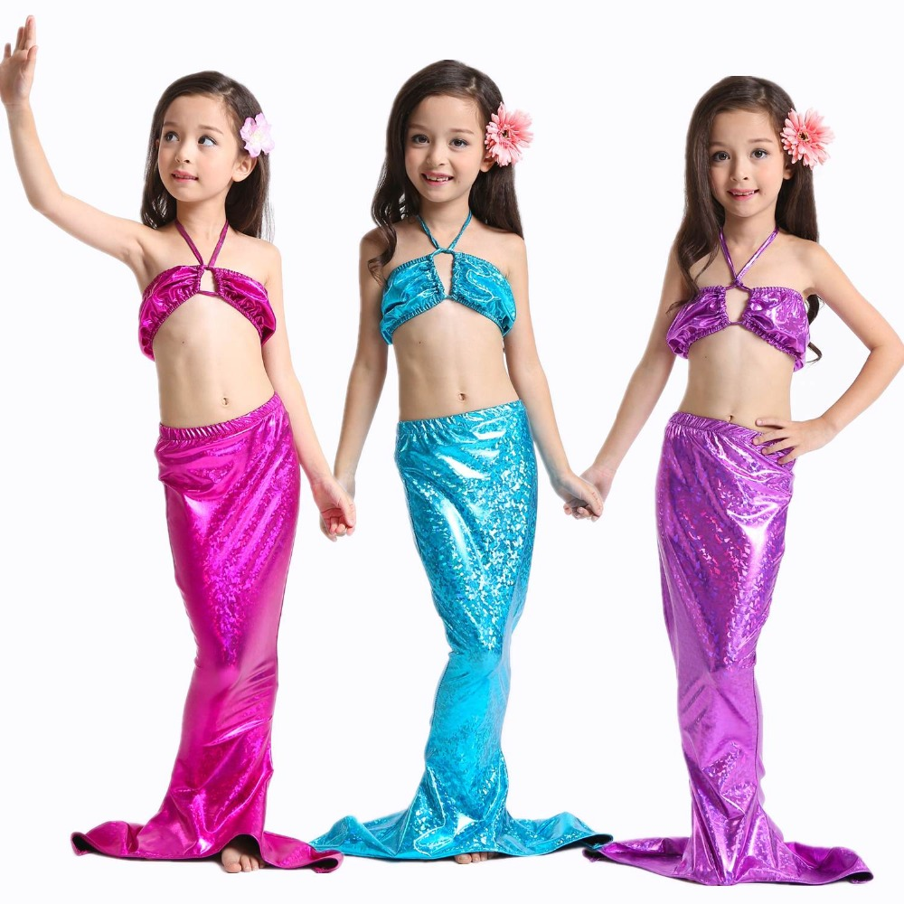 3pcs KAWEIDA Girls Mermaid Tails with Monofin Fin Swimming Swimsuit Costumes Children Kids Mermaid Tail Kids Mermaid For girl