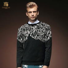 Free Shipping New male fashion personality casual men's Fall black jacquard round neck long-sleeved sweater Slim casual 5056