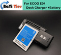 LOT=1PC Desk Dock Charger + 1pc For ECOO E04 Battery 3000mAh Li-ion Replacement Battery For ECOO E04 TrackNumber