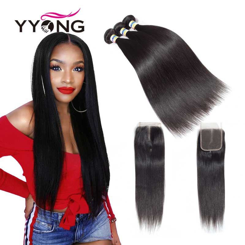 Yyong Peruvian Straight Hair 3 Bundles Human Hair Extensions With 4*4 Lace Closure Double Weft Weave Bundles With Closure