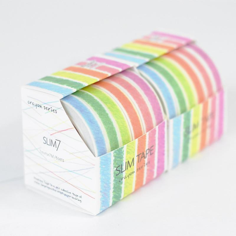 6Pcs/Sell Printing Washi Tape Set Japanese Stationery 0.7mm*7meter Kawaii Scrapbooking Tools Mask Adhesive Tape School Washitape