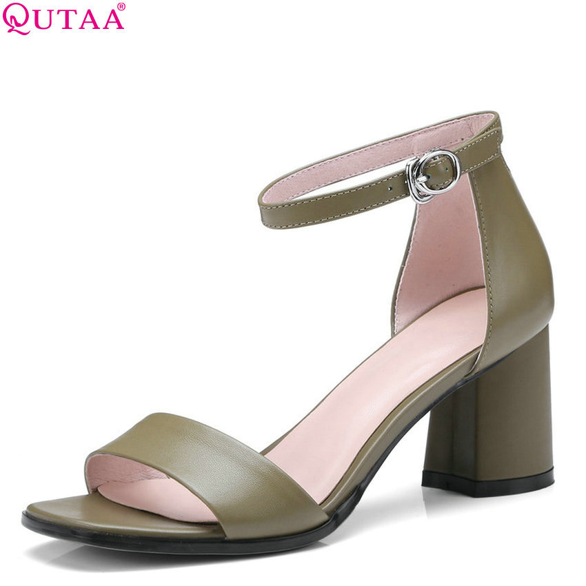 QUTAA 2018 Women Sandals Cow Leather +pu All Match Fashion Women Shoes Platform Square High Heel Women Sandals Size 34-42 qutaa 2018 women sandals pu leather fashion square high heel women shoes casual black square toe ladies sandals size 34 42