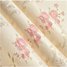 Warm Garden Flowers 3D Wallpaper Precision Embossed Background Non-woven Wall Paper Living Room Bedroom new 2016 hot selling simple wallpaper continental spread wall paper non woven bedroom warm sitting room background wall stickers