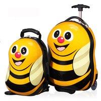 2016 Новинка 16 чемодан/Сумка На Колесиках + 12 Классный рюкзак 3D мультфильм детей чемодан/ABS мультфильм путешествия чехол для тележки/ детская