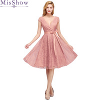 Sexy Elegant Short Sleeves Dust Pink V Neck Lace Short Dress Bridesmaid 2019 Plus Size A line Wedding Party Dress with Sashes
