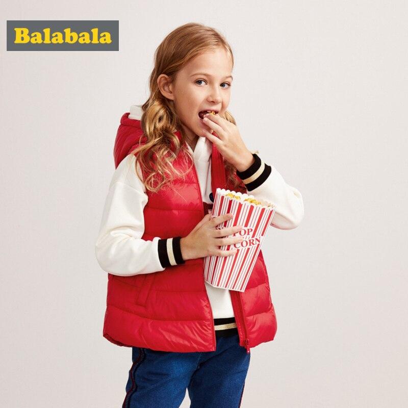 Balabala fille Long matelassé léger à capuche gilet bouffant en Chinlon doublé adolescente Zip-up rembourré gilet avec poche inclinée