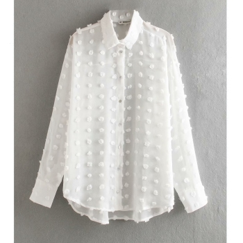 new women fashion dot stitching casual chiffon blouse shirt women long sleeve chic blusas perspective white chemise tops LS3725 1
