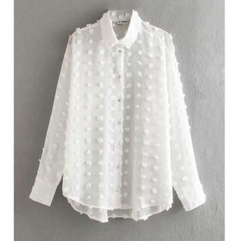 new women fashion dot stitching casual chiffon blouse shirt women long sleeve chic blusas perspective white chemise tops LS3725 1