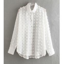 Новая женская модная Повседневная шифоновая блузка в горошек, женская рубашка с длинным рукавом, шикарные блузки, перспективная белая