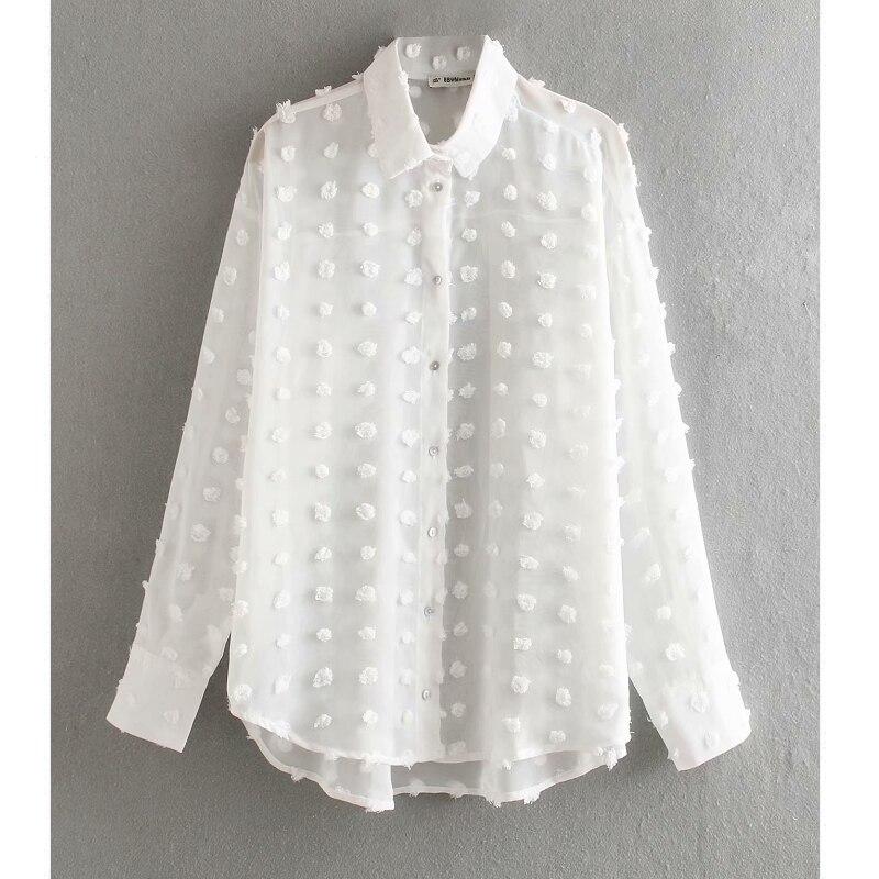 Nova moda feminina dot costura chiffon casual camisa blusa mulheres manga comprida chic blusas perspectiva chemise branco tops LS3725