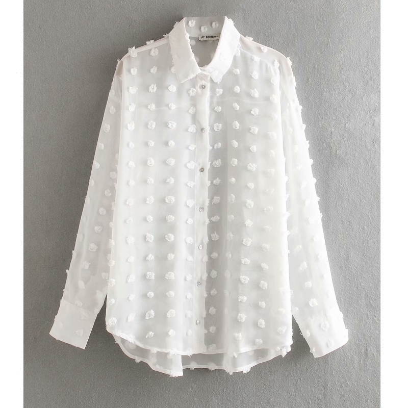new women fashion dot stitching casual chiffon blouse shirt women long sleeve chic blusas perspective white chemise tops LS3725(China)