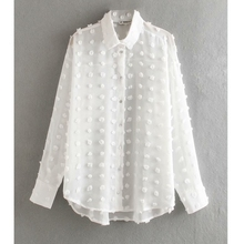 new women fashion dot stitching casual chiffon blouse shirt