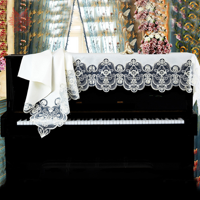 Europe style luxury floral embroidery lace jacquard tribute silk cloth dust proof piano cover cache poussiere piano SP5296