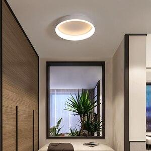 Image 4 - מודרני Led נברשת לסלון חדר שינה מחקר חדר עגול לבן/שחור/קפה צבע 110V 220V בית דקו נברשת מתקן