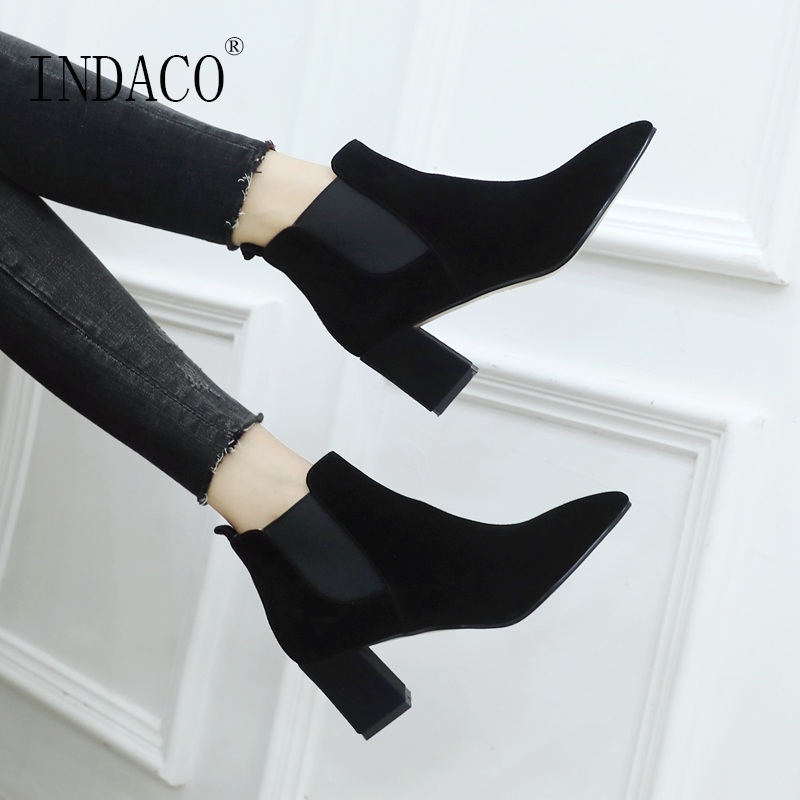 Women Chelsea Boots Leather Ankle Boots for Women Black Beige Shoes Women 4 5cm in Ankle Boots from Shoes
