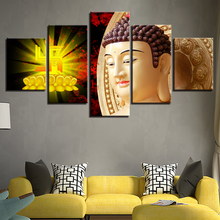 Modern Printing HD Pictures Decoration Living Room Or Bedroom Wall Art 5 Pieces Indian Buddha Canvas Paintings Modular Posters