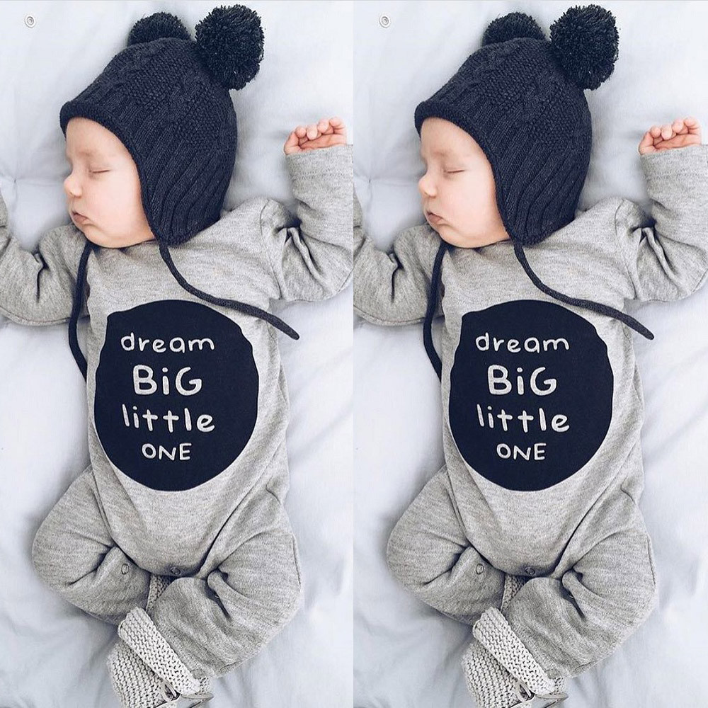 High quality Newborn Infant Baby Boy Girl winter clothes Long Sleeve Letter   Romper   Jumpsuit Clothes Outfits dream BIG little one