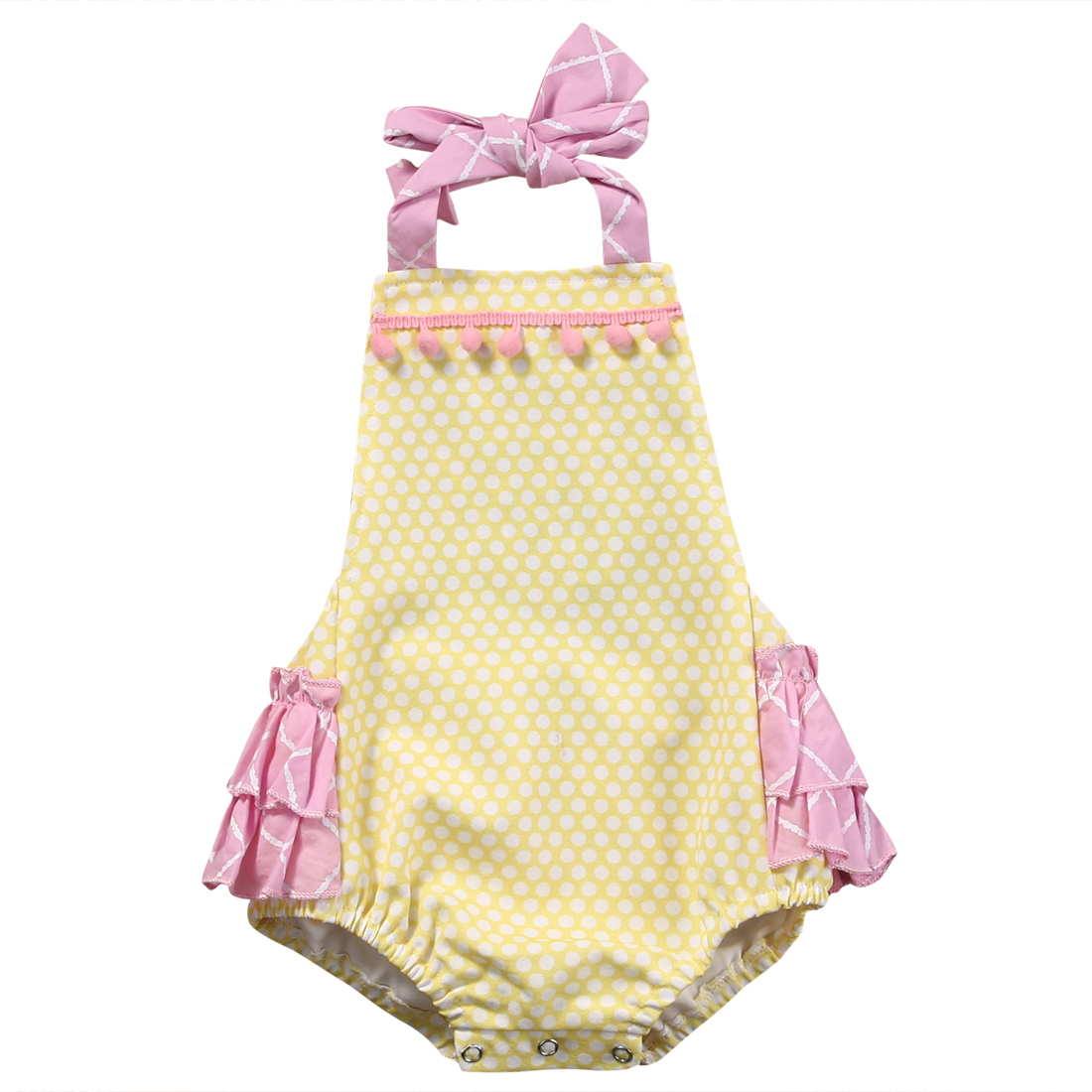 Cute Newborn Baby Girls Sleeveless Yellow Plaid Ruffle Romper Jumpsuit Clothes Outfits Sunsuit puseky 2017 infant romper baby boys girls jumpsuit newborn bebe clothing hooded toddler baby clothes cute panda romper costumes