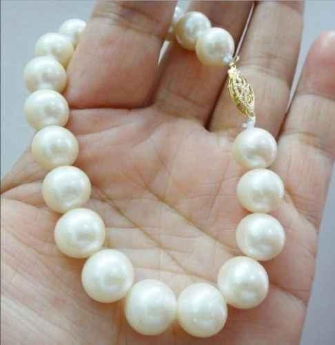 Aaa高貴ナチュラル11〜12ミリメートルオーストラリア南洋白真珠のブレスレット7.5インチ14 k