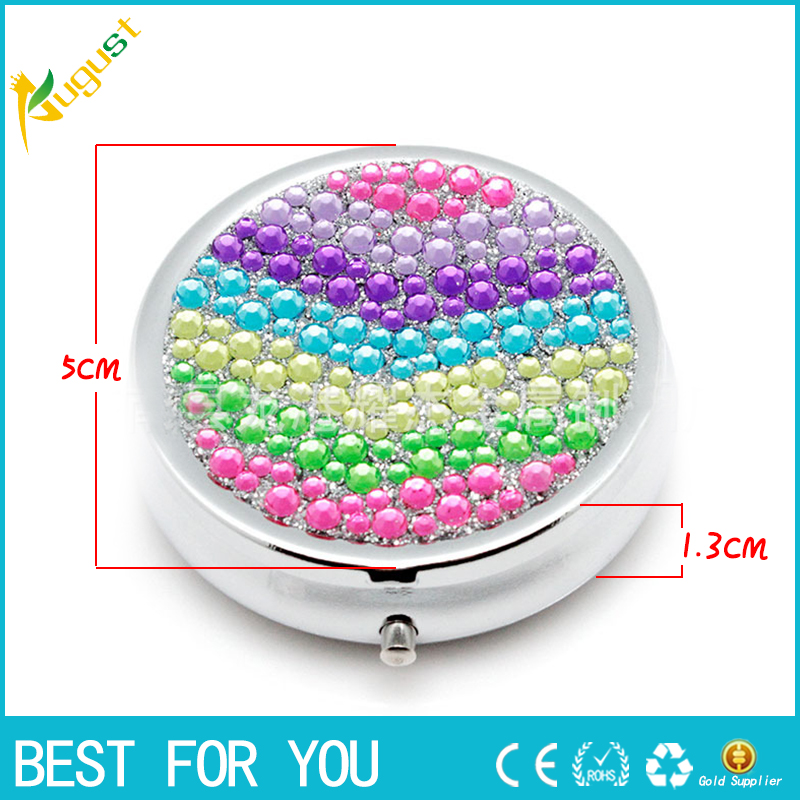 80pcs lot Portable Durable Metal Round Medicine Organizer Holder Container Tablet Pill Box Case 3 Cell