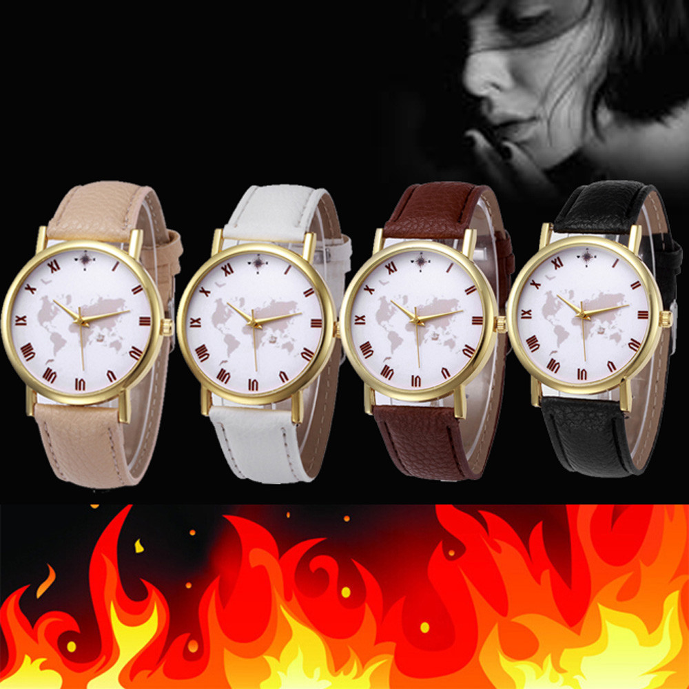 Online buy wholesale watch a map from china watch a map fashion world map women men watch 2017 pu leather band analog alloy quartz wrist watches ladies gumiabroncs Images
