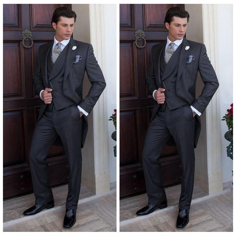 Formal Black Tail Men Wedding Tuxedos Elegant Business Party Suits Set Tailor-Made Prom Suit (Jacket+Vest+Pants)