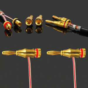 Image 5 - LEORY 4Pcs 4mm Banana Plug Gold plated Audio Speaker Cable Wire Connector Screw Type