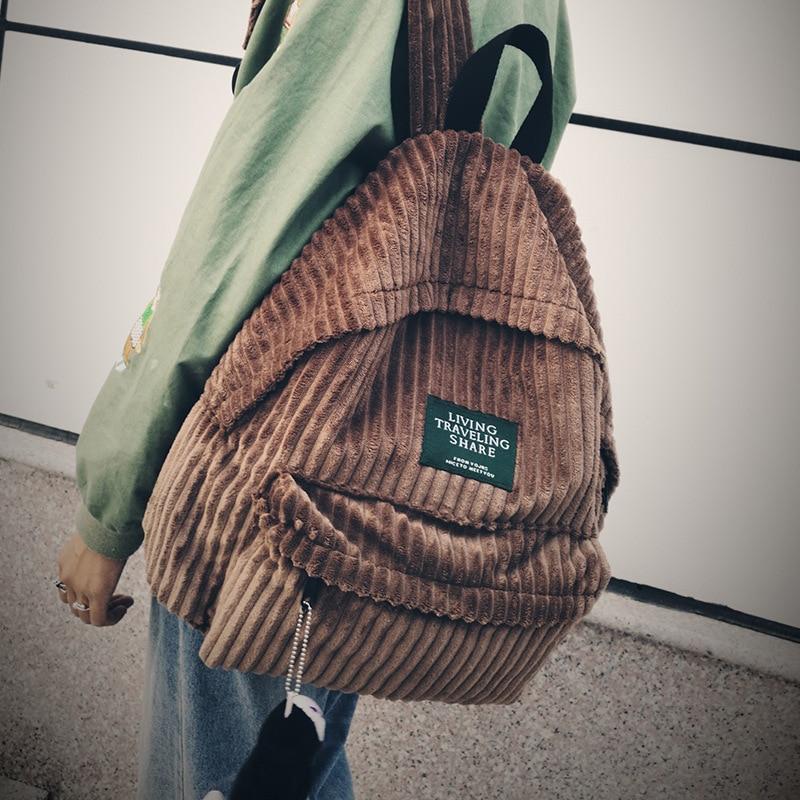 2019 Fashion Women School Backpack Bags Corduroy Backpack Design School Backpack For Teenage Girls Soft Fabric Feminine Bagpack