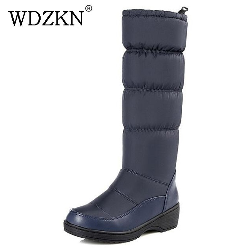 WDZKN 2017 New Arrival Women Boots Mid Calf Waterproof Down Thick Fur Wedge Snow Boots Women Winter Warm Shoes Big Size 35-44 double buckle cross straps mid calf boots