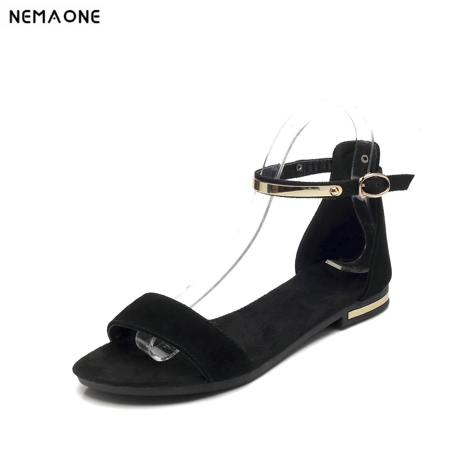 NEMAONE New genuine leather women sandals flat shoes woman summer style beach shoes girl's sandals