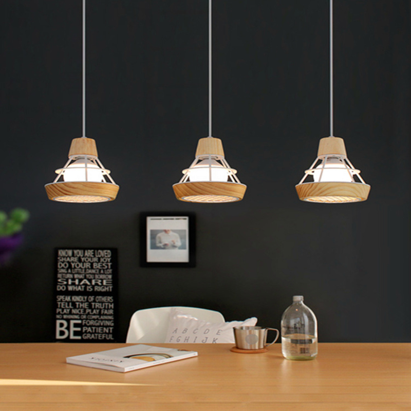 Modern Pendant Lights Wooden+Metal Single Head Pendant Lamps For Restaurant Bar Luminaire Pendientes Home Decoration WPL024