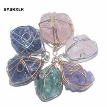 цены на Wholesale 1 PCS Natural Rose Crystal Quartz Fluorite Pillar Amethysts Stone Pendant Winding  DIY Fit Necklace For Jewelry Making  в интернет-магазинах