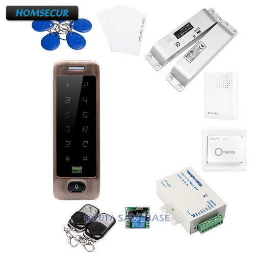 HOMSECUR Red Bronze Waterproof Access Control RFID Reader System + Drop Bolt Lock(Fail Safe Mode)
