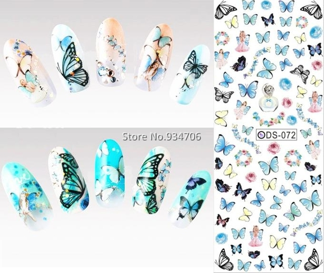 DS072 2015 дизайн ногтей переброски вод ногтей Art наклейки Цветные бабочки ногтей Обертывания наклейки Watermark Ногти отличительные знаки