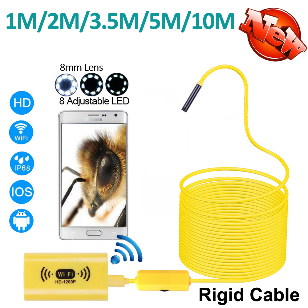 цены Full HD 1200P WIFI Endoscope 2MP Camera 10M/5M/3.5M/2M/1M Android iPhone Snake Rigid Cable USB Wirless Borescope Camera 8mm 8LED